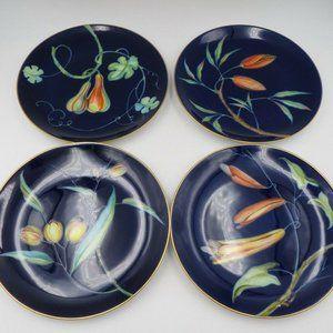 4 Rosenthal Cobalt Blue Floral Signed Plates ED42
